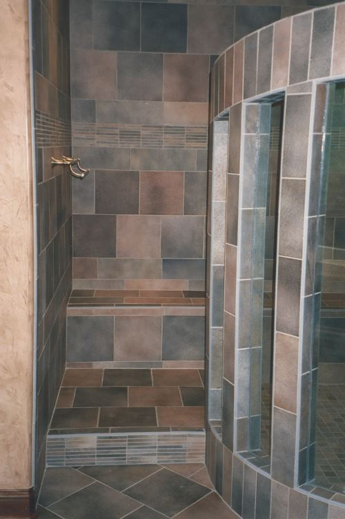 Photo of a fancy tiled shower