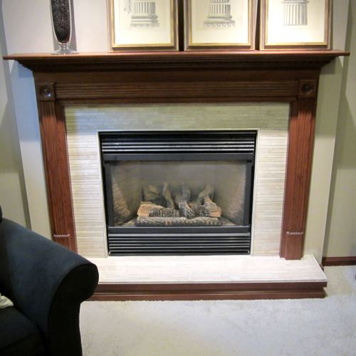 Photo of a tiled fireplace insert
