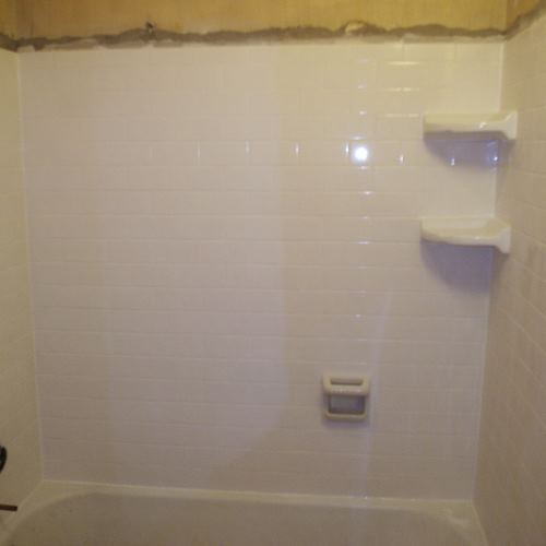 Photo of shower walls above a tub